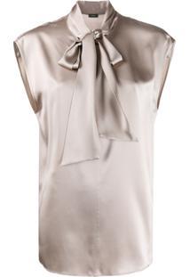Joseph Nancy Neck Tie Blouse - Cinza