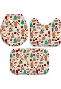 Jogo Tapetes Para Banheiro Merry Christmas ÚNico Love Decor - Multicolorido - Dafiti
