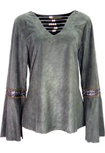 Blusa Infinity Fashion Suede Verde