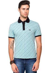 Camisa Polo Piquet Tony Menswear Com Elastano E Micro Estampa Azul Claro