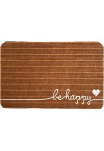 Capacho Carpet Be Happy Marrom Único Love Decor
