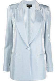 Emporio Armani Blazer Com Efeito De Veludo - Azul