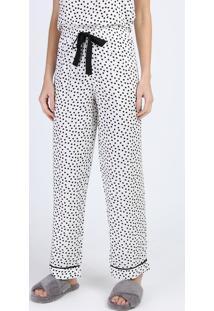 Calça De Pijama Feminina Reta Estampada De Poá Com Cordão Off White