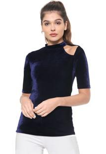 Blusa Colcci Veludo Recorte Azul-Marinho