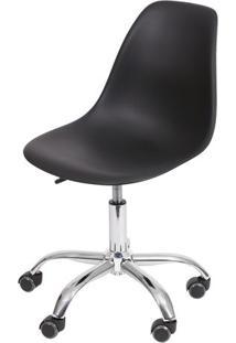 Cadeira Eames Dkr Rodizio- Preta & Prateada- 93X47X4Or Design