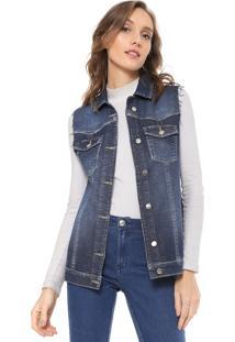Colete Jeans Mob Recortes Azul