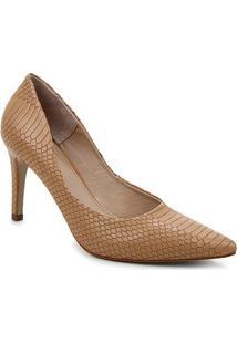 Scarpin Couro Shoestock Salto Alto Graciela Snake - Feminino-Caramelo