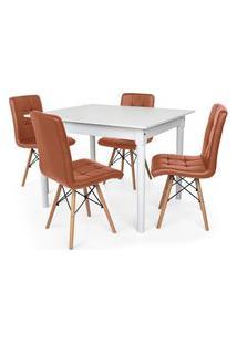Conjunto Mesa De Jantar Robust 110X90 Branca Com 4 Cadeiras Eiffel Gomos - Marrom