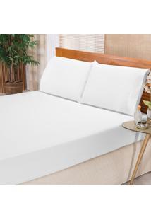 Jogo De Cama Elegance Branco Casal Percal 180 Fios 03 Peã§As Dourados Enxovais - Branco - Dafiti