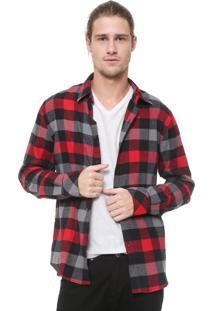 Camisa Ellus 2Nd Floor Reta Xadrez Dakota Cinza/Vermelha