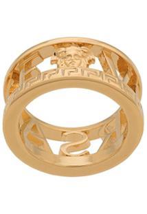 Versace Anel Greca Com Logo - Dourado