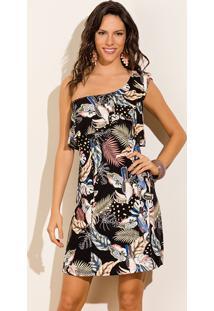 07f47adbb Vitrine Outlet. Vestido Trico Crepe Curto Verão 2015 Estampado Ombro Preto  Babado Assimétrico Só Viscocrepe Preto-M