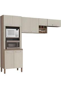 Cozinha Compacta Ametista 8 Portas Composição 3 Nogal/Arena - Kit'S Pa
