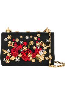 Dolce & Gabbana Bolsa Tiracolo Com Aplicações Florais - Preto