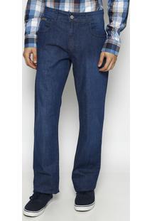 Jeans History Reto Liso- Azul Escuro- Forumforum