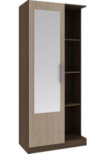 Armário Multiuso 1 Porta 3 Prateleiras 20Mu1004 Com Espelho Nogal/Avelã - Rodial