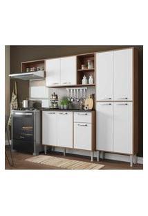 Cozinha Compacta Xangai 9 Portas Multimóveis Nogueira/Branco Marrom