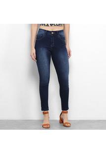 Calça Jeans Zune Estonada Cintura Média Feminina - Feminino-Azul