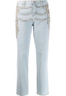 Philipp Plein Calça Jeans Boyfriend Com Aplicação De Cristal - Azul
