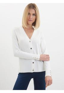 Cardigan Le Lis Blanc Jasmin Ii Tricot Off White Feminino (Off White, G)