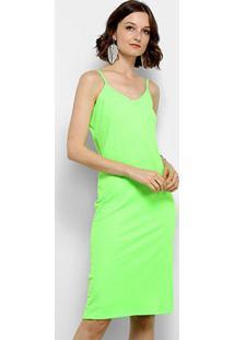 Vestido Aura Midi Tubinho Canelado Neon - Feminino-Verde