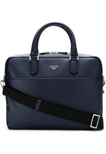 Emporio Armani Bolsa Para Laptop De Couro - Azul