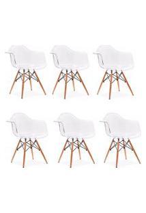 Cadeira Império Brazil Eames Wood Policarbonato Transparente
