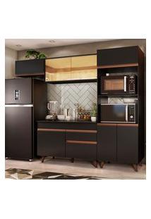 Cozinha Completa Madesa Reims 260001 Com Armário E Balcáo - Preto Preto