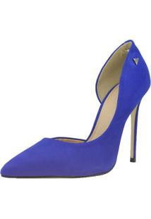 Scarpin Shepz Couro Azul - Azul - Feminino - Dafiti