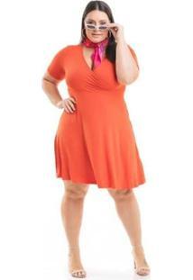 Vestido Viscolycra Transpassado Miss Masy Plus Size - Feminino-Laranja