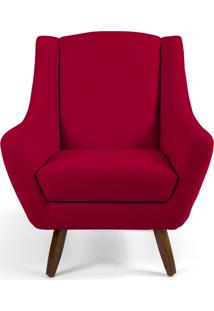 Poltrona Decorativa Sala De Estar Pés De Madeira Naomi Veludo Vermelho - Gran Belo