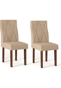 Conjunto Com 2 Cadeiras De Jantar Catarina Trufa E Bege