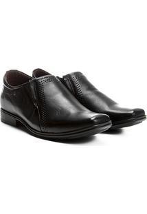 Sapato Social Couro Pegada Com Elástico - Masculino-Preto