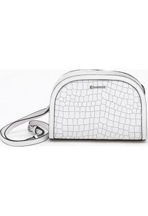 Bolsa Shoulder Bag Couro Croco Bianco - P