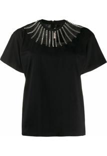 Christopher Kane Camiseta Com Recorte E Aplicação - Preto