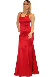 Vestido De Festa Longo Liso Sob Em Cetim Sereia - Feminino-Vermelho