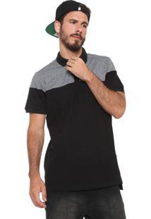 Camisa Polo Mcd Core Blank Preta/Cinza