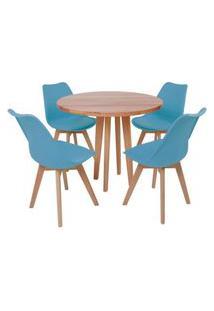 Conjunto Mesa De Jantar Em Madeira 90Cm Com Base Vértice + 4 Cadeiras Leda - Turquesa