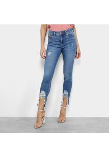 Calça Jeans Skinny Colcci Bia Estonada Barra Destroyed Cintura Média Feminina - Feminino-Azul