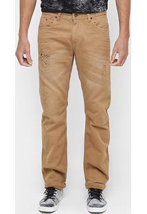 Calça Sergio K Slim Fit Stone Color Rasgos - Masculino-Caramelo