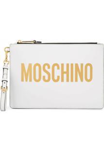Moschino Clutch Com Logo - Branco