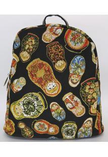 Bolsa Feminina Mochila Em Gobelino Matrioshkas (Bonecas Russas) - Dourado/Preto/Vermelho - Feminino - Dafiti