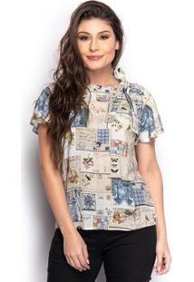 Blusa Feminina Estampada Decote V Laço Manga Curta Casual - Feminino