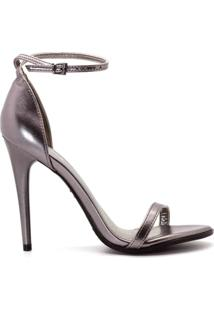 Sandália Tira Metalizada Salto Fino - Feminino-Lilás