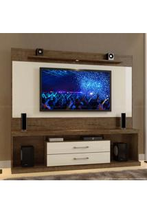 Estante Home Theater Para Tv Até 65 Polegadas 2 Gavetas Com Led Montenegro Canion Tx/Off White - Mavaular Móveis