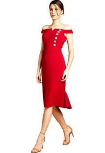 Vestido Midi Izadora Lima Brand Em Crepe Ombro A Ombro Feminino - Feminino-Vinho