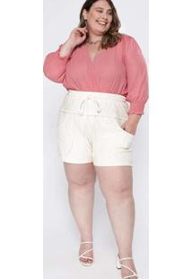 Shorts Almaria Plus Size Tal Qual Moletom Rústico