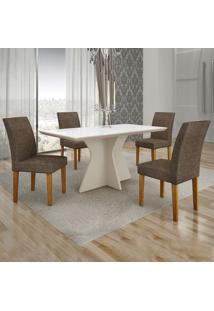 Conjunto De Mesa De Jantar Creta Iii Com 4 Cadeiras Olímpia Linho Branco E Marrom