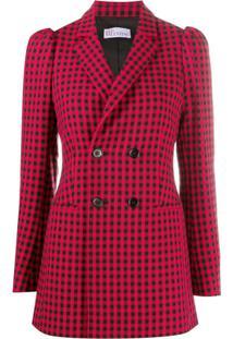Redvalentino Checked Double-Breasted Coat - Preto