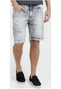Bermuda Masculina Jeans Destroyed Marmorizado Marisa